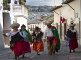 In Quito, people wearing traditional costume of Otavalo Region