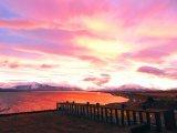 remota lodge at sunset